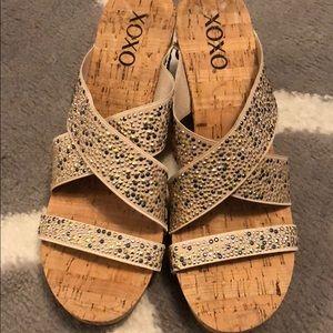 NWOT Xoxo Embellished Wedge Sandals Size 8.5